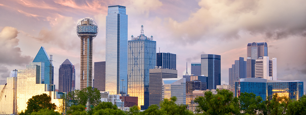 The Downtown Dallas Tx Skyline at dusk