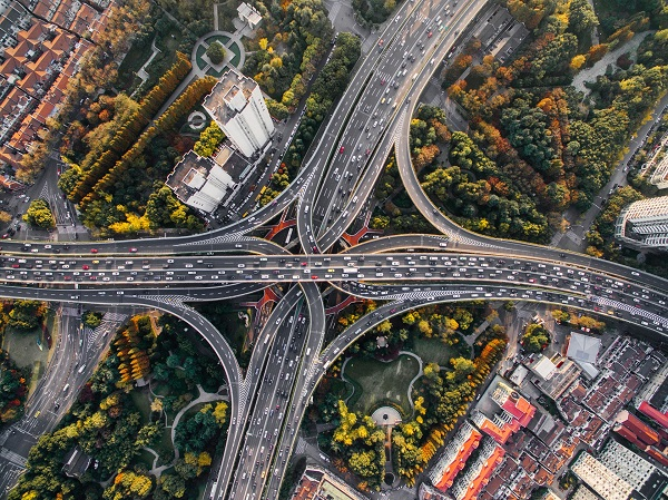 Birds eye view of an overpass during the day